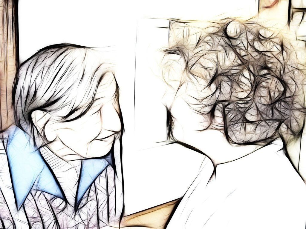 cartoon image of older man and younger woman